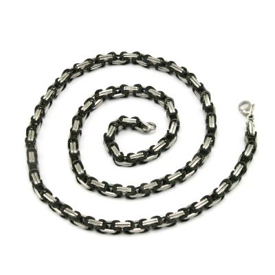 Königskette Edelstahl, silber / schwarz, 5,5 mm
