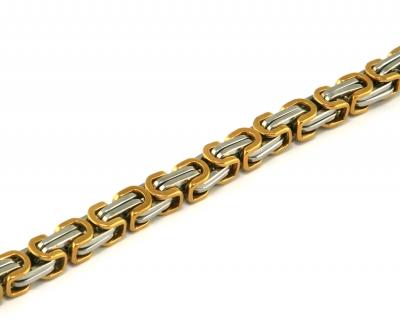 Königskette Edelstahl, silber / gold 8,5 mm