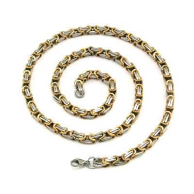 Königskette Edelstahl, silber / gold, 5,5 mm