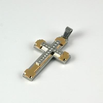 Edelstahl Anhänger Kreuz, silber/gold