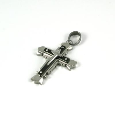 Edelstahl Anhänger Kreuz, silber/schwarz