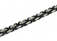 Königskette Edelstahl, silber / schwarz, 8,5 mm